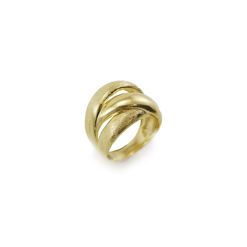Trio Circle Gold Sterling Sliver Ring