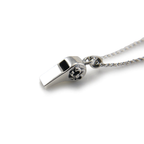 Whistle with Gothic Cross Symbol Sterling Silver Necklace