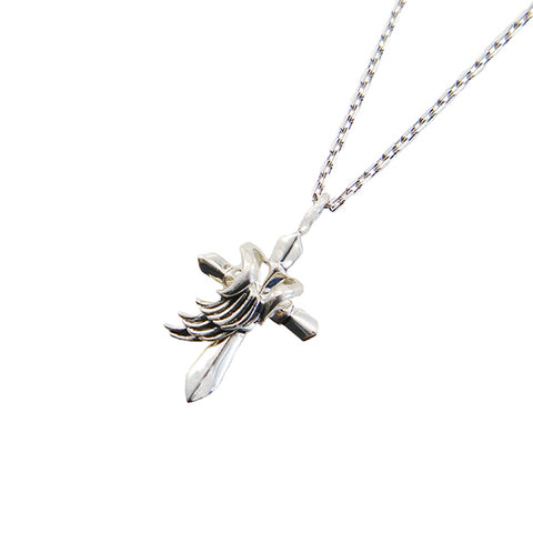 Shinny Cross & Detectable Wing Sliver Necklace