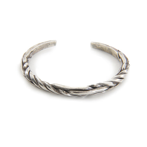 The Twist Steel With 2 Straight Line Pattern Sterling Silver Bangle