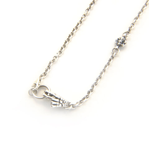 Medium Cable Chain with Skeleton Hand Hook and Gothic Cross Sterling Silver Necklace
