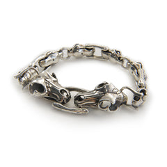 Two Heads Dinosaur Skull Sterling Silver Bracelet