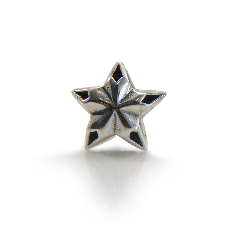 Emboss Star Sterling Silver Stud (One Piece)