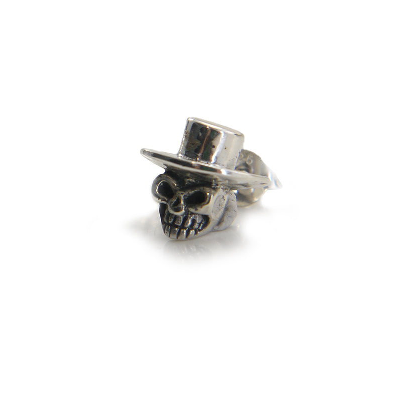 Mini Skull With Hat Sterling Silver Stud (One Piece)