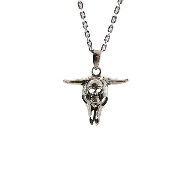 Dinosaur with Skull Sterling Silver Necklace