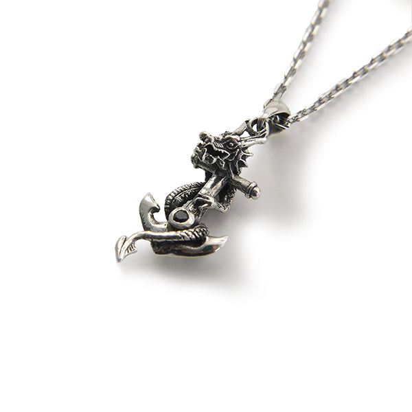 Dragon Wrap on Anchor with Black CZ (Small Size) Sterling Silver Necklace