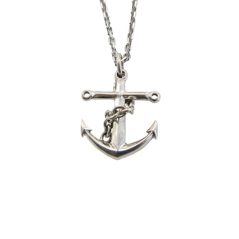 Big Shinny Anchor with cable chain wrap Sterling Silver Necklace