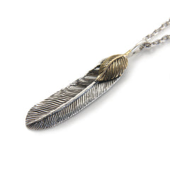 Large Feather with Gold Leaf Sterling Silver Necklace