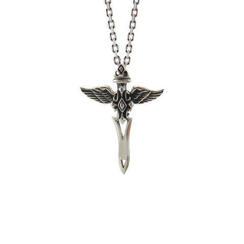 2 Wings Sword End Cross (Large Size) Sterling Silver Necklace