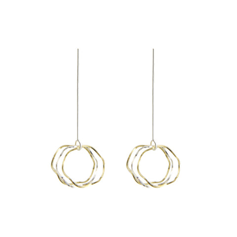 Trio Cutout Wave Circle Gold & Sliver Pierced Earrings