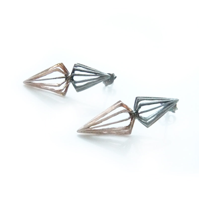 Duo Cutout 3D Pyramid Rose Gold & Black Sterling Sliver Studs