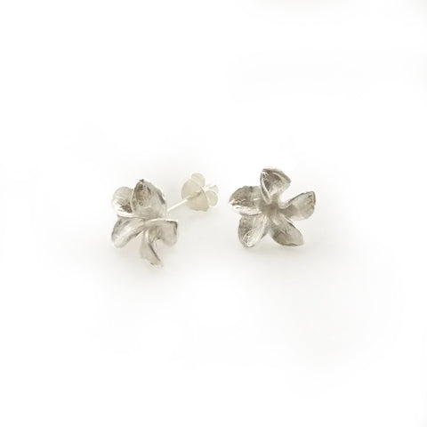Twisted 5-Pedal Flower Sterling Silver Studs