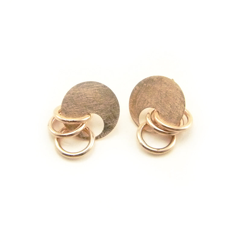 Circle & Trio Cutout Circle Rose Gold Sterling Silver Studs