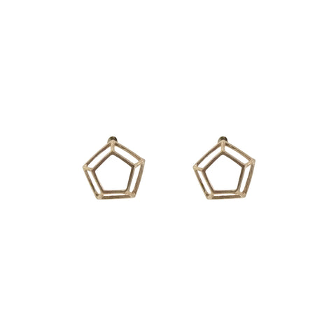 3D Cutout Pentagon Rose Gold Sterling Sliver Studs