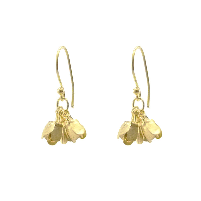 Mini Hydrangea Gold Sterling Sliver Earrings