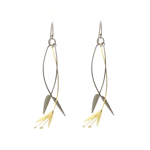 Bird of Paradise Gold & Black Sterling Silver Earrings