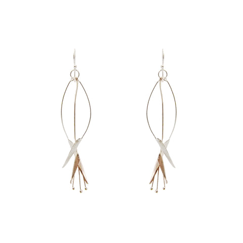 Bird of Paradise Sliver & Rose Gold Sterling Silver Earrings