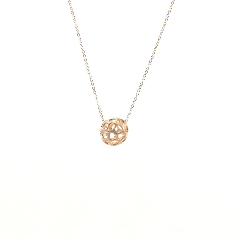 3D Cutout Ball Rose Gold Sterling Sliver Short Necklace