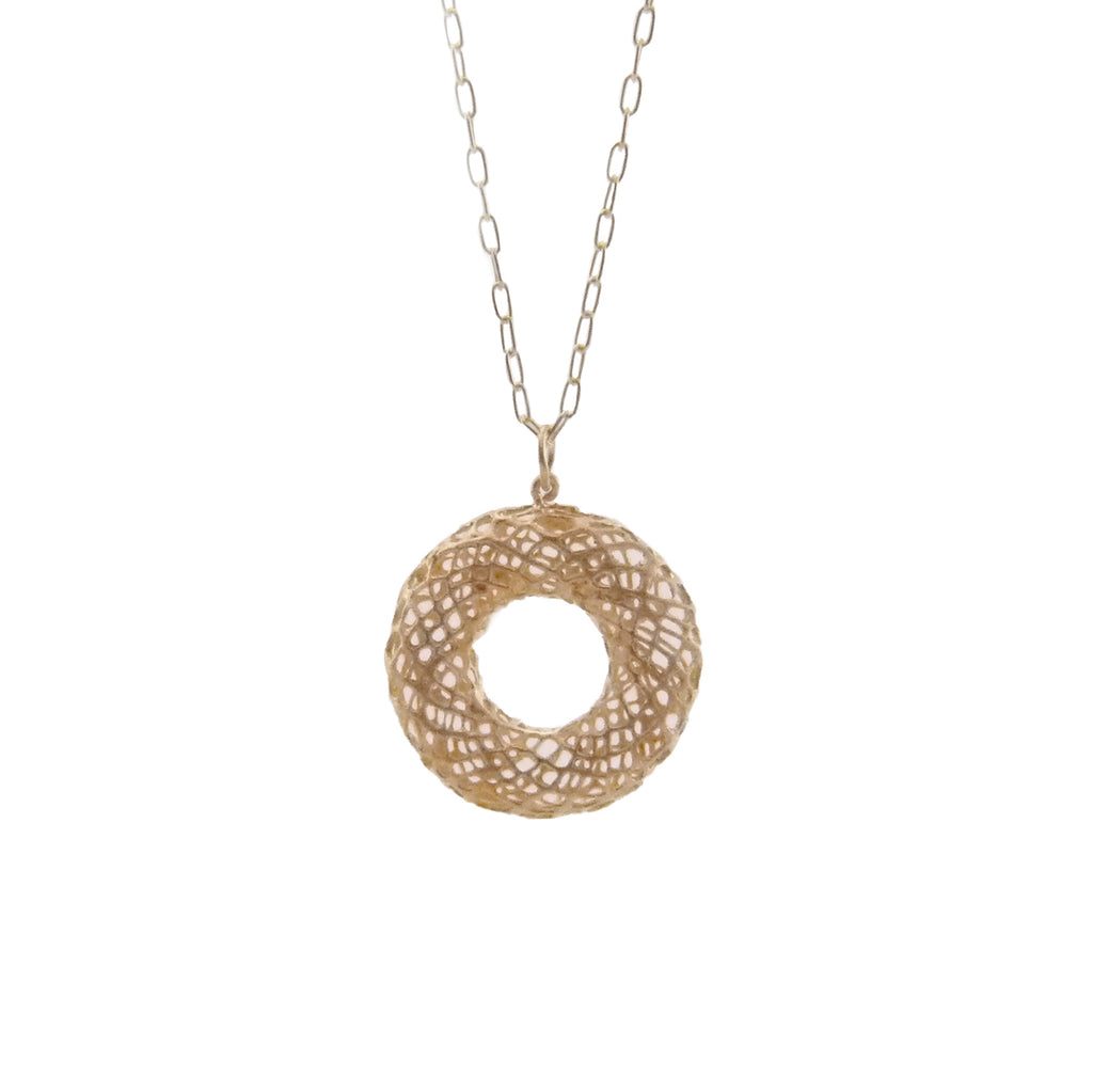 Donut Rose Gold Sterling Silver Long Necklace