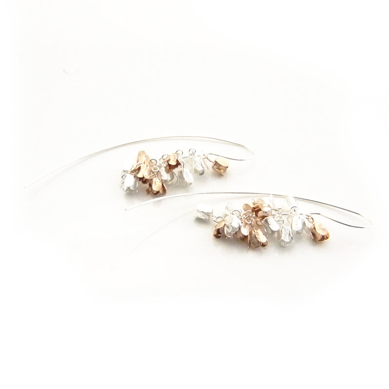 Long Hydrangea Dangle Rose Gold & Sliver Sterling Sliver Pull-Thru Earrings
