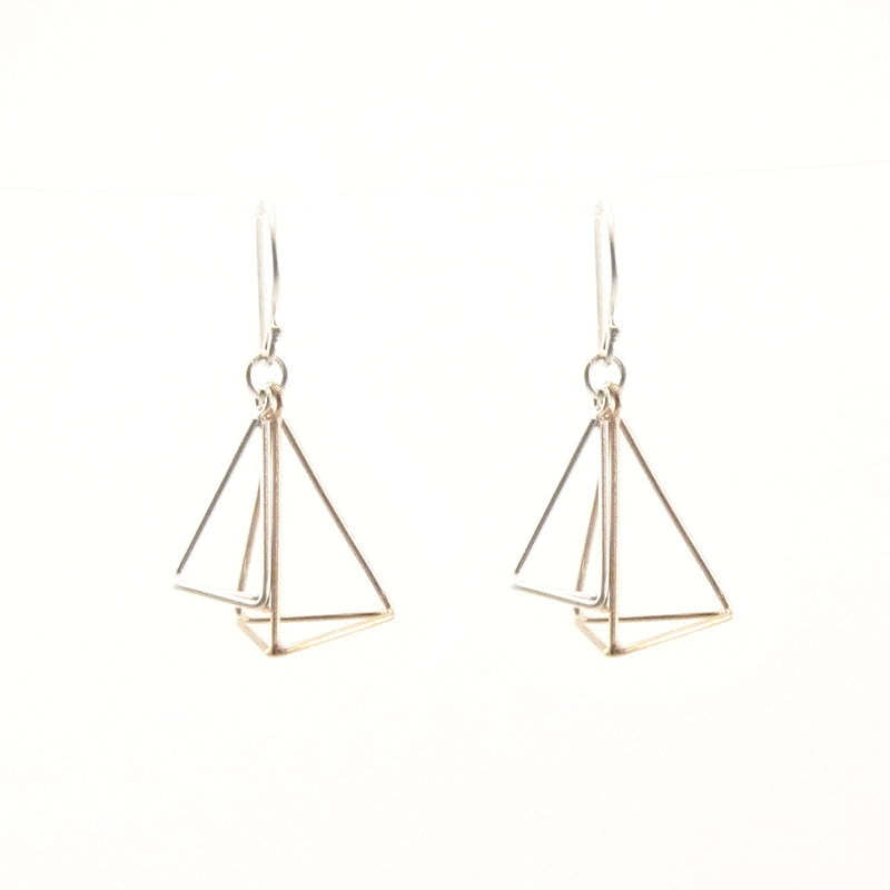 Duo 3D Cutout Pyramid Sliver & Rose Gold Sterling Sliver Earrings