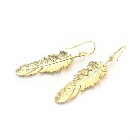 Big Feather Gold Sterling Silver Earrings