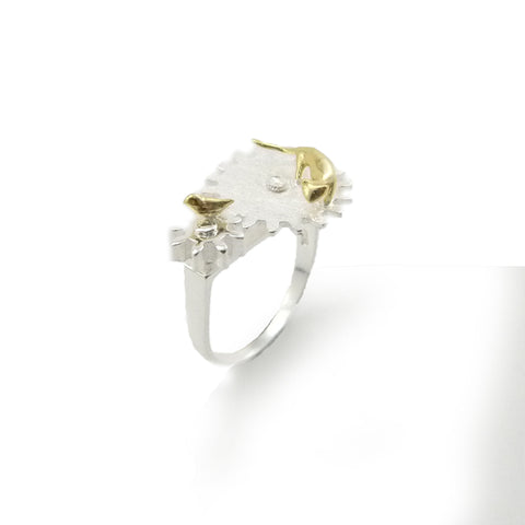 Cat and Bird With Gear Gold Sterling Sliver Ring