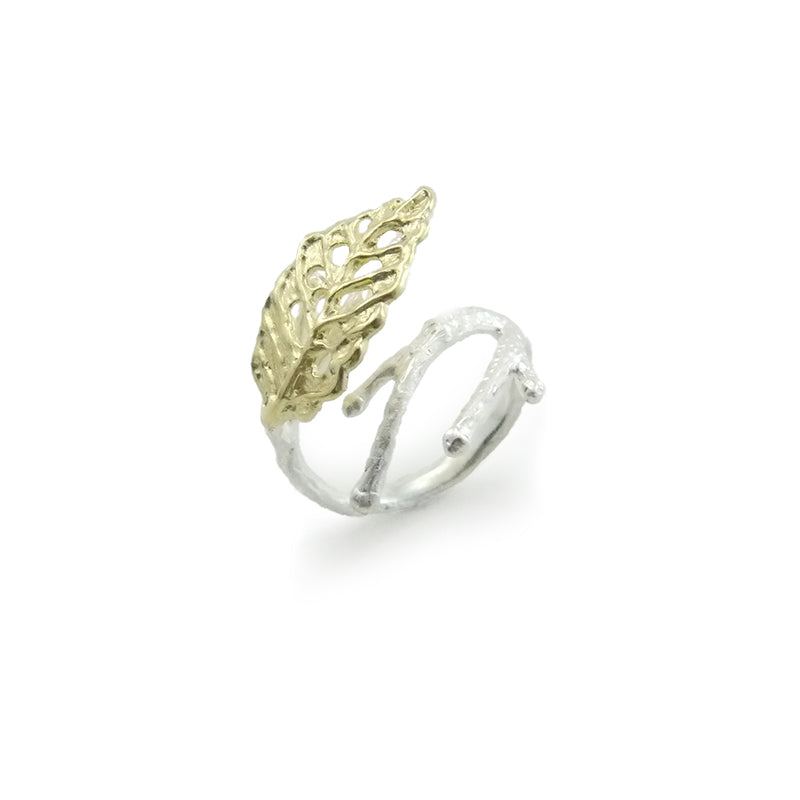 Curved Leaf Gold Sterling Sliver Ring