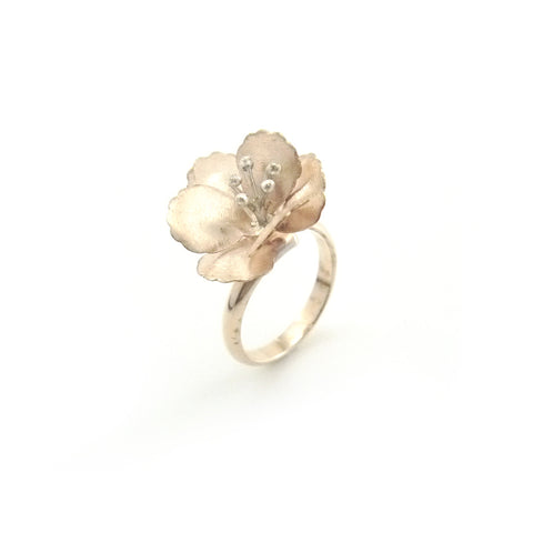 Big Eschscholzia Rose Gold Sterling Silver Ring