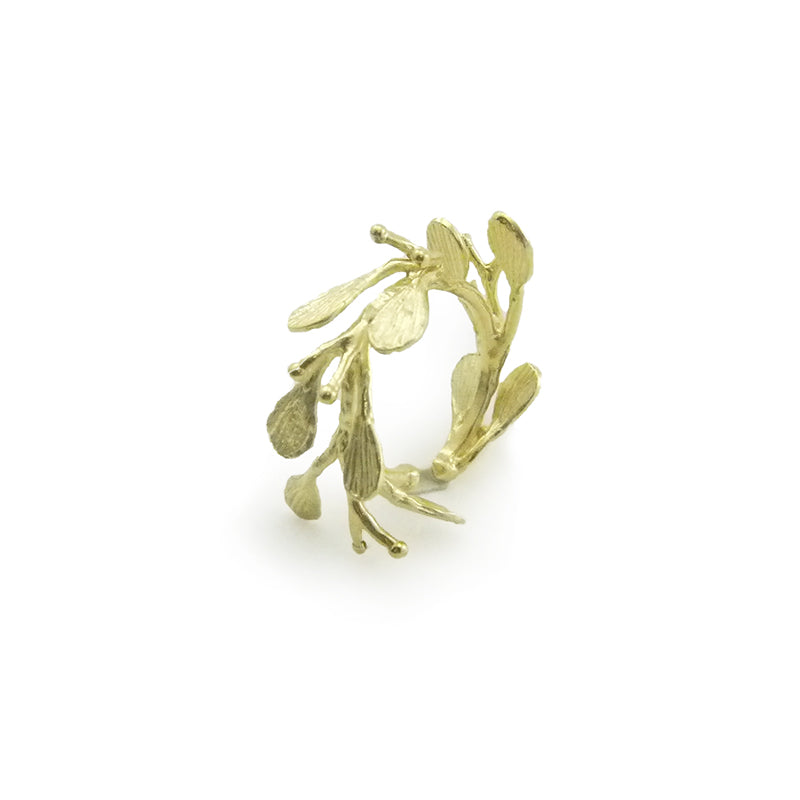 Rich Flower Branches Gold Sterling Sliver Ring
