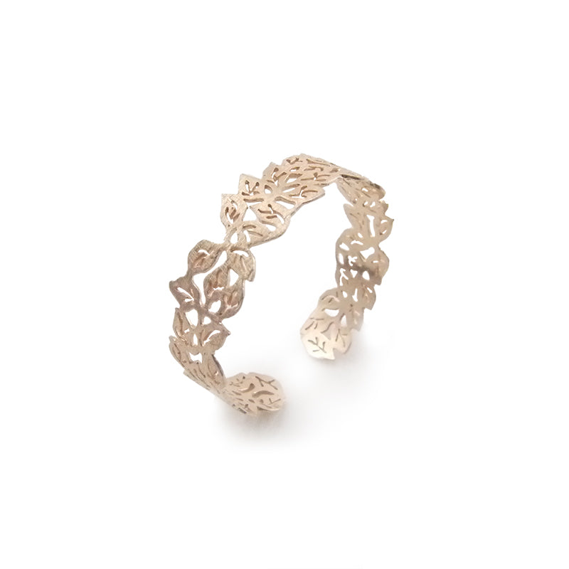 Small Leaf Pattern Rose Gold Sterling Sliver Bangle