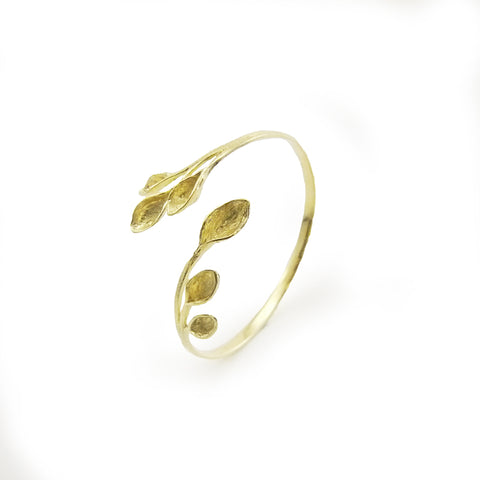 Flower Heart Branches Gold Sterling Sliver Bangle