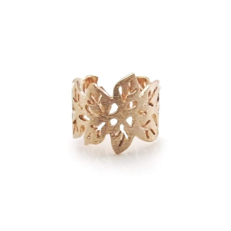 Small Leaf Pattern Rose Gold Sterling Sliver Ring