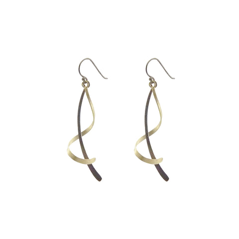 Duo Long Twisted Bar Gold & Black Sterling Sliver Earrings
