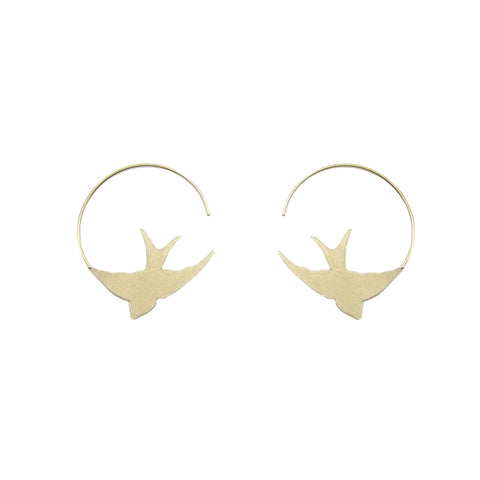 Flying Bird Gold Sterling Sliver Loop Earrings