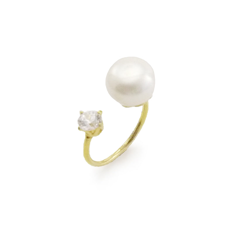 Big Pearl & CZ Open Front Gold Sterling Silver Ring
