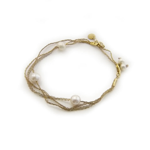 Layer of Lace With Pearl Gold Sterling Silver Bracelet