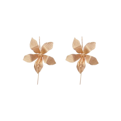 Big Flower Rose Gold Sterling Sliver Pull-Thru Earrings