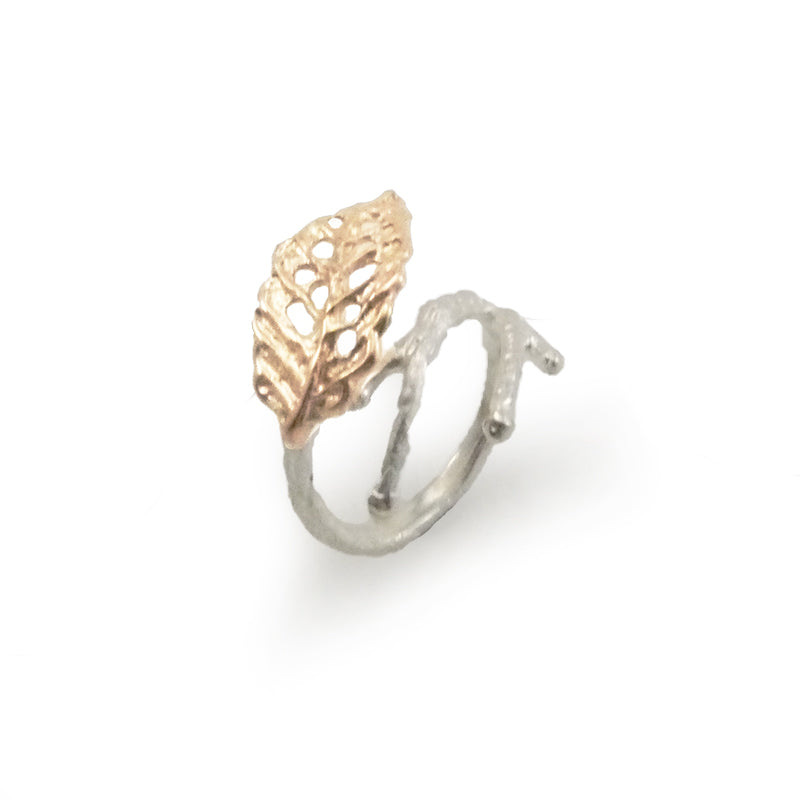 Curved Leaf Rose Gold Sterling Sliver Ring