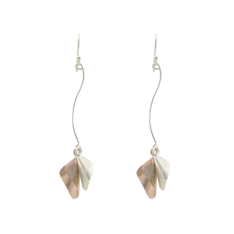 Duo Speaker Shape Rose Gold & Sliver Drop Earrings