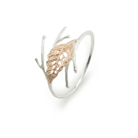 Curved Leaf on Branch Rose Gold Sterling Sliver Bangle