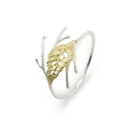 Curved Leaf on Branch Gold Sterling Sliver Bangle