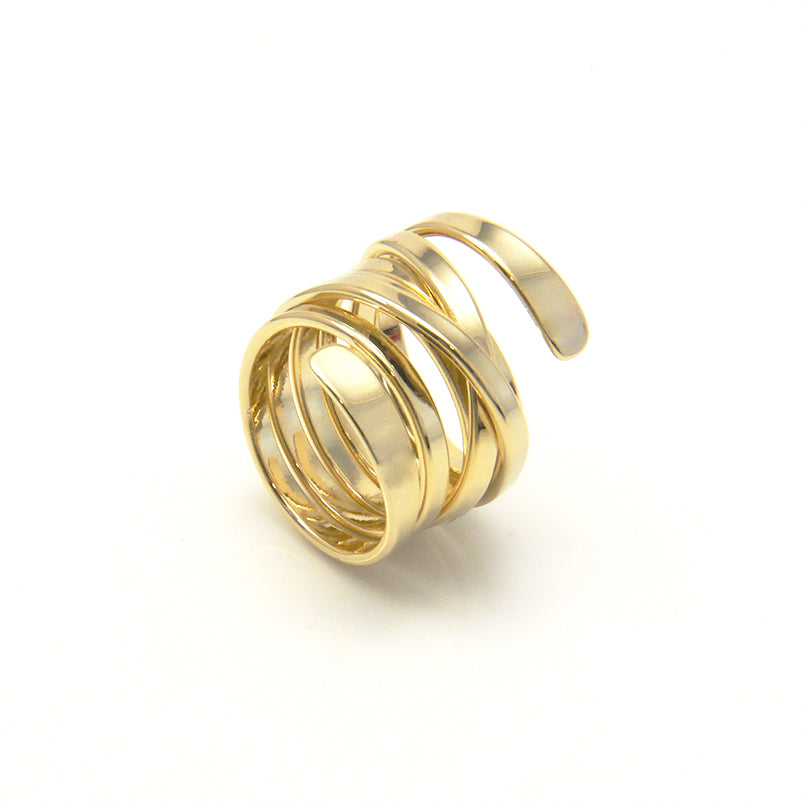 Thick Multi-Line Gold Ring