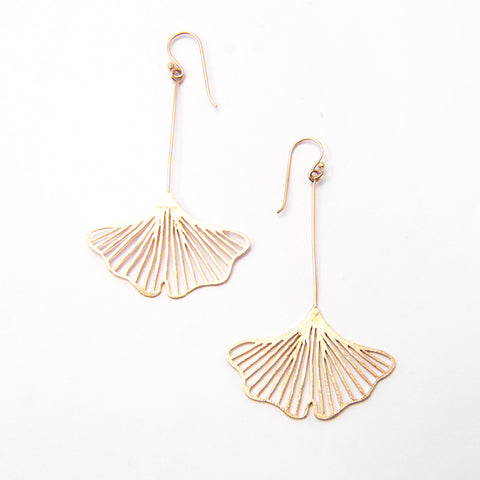 Big Cutout Ginkgo Rose Gold Sterling Silver Earrings