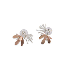 Butterfly Flower Rose Gold & Sliver Studs