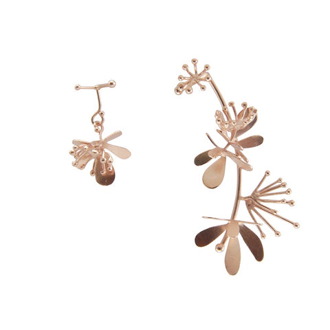 Trio Butterfly Flower Rose Gold Studs