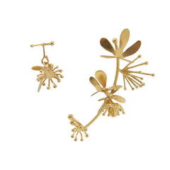 Trio Butterfly Flower Gold Studs