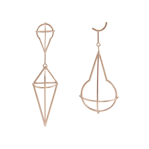 Geometry Waterdrop & Diamond Rose Gold Studs