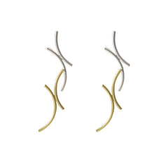 Double X Twisted Gold Silver Sterling Sliver Earrings