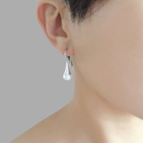 Teardrop With Small Pearl Sterling Silver Earrings